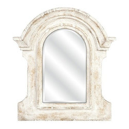 """IMAX - Beautris Distressed White Wall Mirror - With the frame inspired by ancient Roman architecture but given a weathered white finish, the Beautris mirror will blend perfectly in your casual or cottage decor. Item Dimensions: (36""""h x 32""""w x 3"""")"""