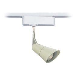 """Tech Lighting - Scania Linen 3"""" Tech Track Pendant for Juno Track Systems - The Scania is a clean European-inspired pendant head that features a painted matte linen finish. The head rotates 360 degrees and pivots 180 degrees to direct the beam. Includes snap louver lens holder which holds a single lens or louver (sold separately). Included track adapter lets you connect this pendant to Juno track lighting systems. Includes a built-in 12 volt transformer that's concealed in the white finish housing. Made by Tech Lighting for use with Juno line voltage track systems. Matte linen finish. Fully adjustable head. White finish adapter housing. For use with Juno line voltage track systems. Built-in 12V transformer. Takes one 50 watt MR16 halogen bulb (not included). Hangs 3"""" high. Head is 4 3/4"""" long. Adapter is 6"""" wide 1 3/4"""" high.  For use with Juno line voltage track systems.   Matte linen finish.   Fully adjustable head.   White finish adapter housing.   Built-in 12V transformer.   Takes one 50 watt MR16 halogen bulb (not included).   Hangs 3"""" high.   Head is 4 3/4"""" long.   Adapter is 6"""" wide 1 3/4"""" high."""