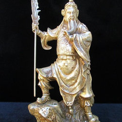 Chinese Silver Color General Guan Metal Staute - General Guan, Yu is an image of loyalty & valor in Chinese culture. People believe that they and their families can get protected by owning the statue or image. This General Guan statue is made of Metal (should be Tibetan copper) and has detailed graphic carving and charming silver color.