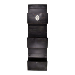 Enchante Accessories Inc - Wall Mounted 3 Tier Metal Vertical File Holder , Antique Iron - Organize and display magazines, store important papers and documents, or organize mail and bills inside this vertical file holder from Parisian Home.  The wall mounted 3 tier metal vertical file holder / magazine rack is constructed from durable distressed steel and has an antique quality that makes it as decorative as it is functional.  The weathered finish gives it a shabby chic look while the heavy gauge steel construction offers durability for long lasting and repeated use.  Simple yet stylish enough to be hung in virtually any room of the home, this hanging storage rack coordinates easily with all types of shabby chic or vintage home decor.