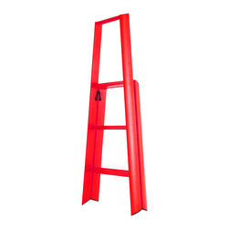 Metaphys - Metaphys - Lucano Step Stool Red - The Lucano 3-Step ladder is a slim-lined, minimalist solution to the age old problem of a step stool that functions well and looks great. The collaboration between design lab Metaphys and the oldest manufacturer of ladders in Japan, Hasegawa Kogyo Co., has resulted in a sleek and sturdy step stool capable of holding up to 220lbs. The rounded edges and satin feel make it too beautiful to stow away and with its ability to stand on its own, why would you? Recently awarded the Red Dot Design, Good Design and JIDA Design Museum Selection awards.