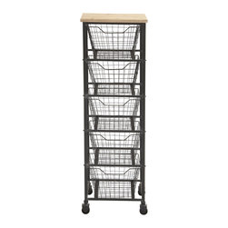 Magnificent Styled Metal Wood Storage Cart - Description: