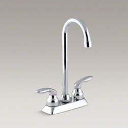 KOHLER - KOHLER Coralais(R) two-hole centerset bar sink faucet with lever handles - This Coralais sink faucet adds classic style to your entertainment station or bar setup. It features two sculptured lever handles and a stationary, high-arch gooseneck spout that allows plenty of room for preparing drinks and appetizers, chilling bottles,