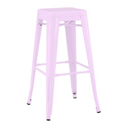 Design Lab MN - Amalfi Stackable Glossy Lilac Steel Barstool Set of 4 - The Dreux steel stackable barstool is a fantastic designed barstool to add to any restaurant, bistro or coffee house. This barstool is produced in rolled steel which can withstand any high traffic area. It also can be stacked to save space if needed. Produced by Design Lab MN, this product is manufacturer to highest standards in the furniture industry.
