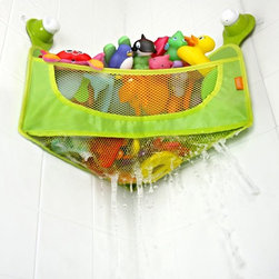 Brica Corner Toy Basket - Save space with this Brica toy basket. It conveniently fits into the corner of the tub and stays in place with suction cups. It has breathable mesh and hooks to hang a washcloth or small towel.