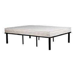 None - Black Steel King-size Mattress Bed Frame - Update your bedroom decor with this black steel mattress bed frameSleek bedroom furniture is the perfect platform to hold your standard king-size mattressNo box spring is needed with this sturdy black steel bed frame