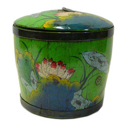 Golden Lotus - Chinese Green Color Floral Round Wood Bucket - This is an old round wood bucket with new paint. It is a charm oriental decorative piece for home. ( hand-painted item, there is variation in graphic )