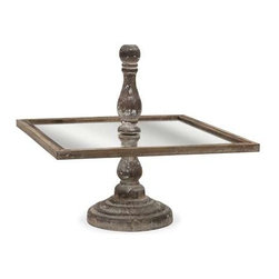 Glover Square Cake Stand - The Glover cake stand has a square surface surrounding a turned wood finial and base. A great tray for petit fours or hors d'oeuvres.
