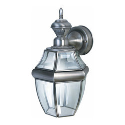 Heath Zenith - Heath Zenith SL-4166-SA-A 1 Light 150 Degree Motion Activated Six-Sided Wall Sco - Heath Zenith SL-4166-SA-A 1 Light 150 Degree Motion Activated Six-Sided Wall Sconce, Silver with Beveled GlassBoth elegant and functional, the antique silver Heath Zenith SL-4166-SA features full 150-degree motion detection up to 30-foot away. The lantern has clear beveled glass and is constructed of metal with a weather resistant finish. Uses one 100 watt max medium base incandescent bulb (not included). Features include DualBrite two-level lighting for ambient lighting that switches to full brightness when motion is detected.Heath Zenith SL-4166-SA-A Features:
