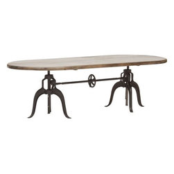 Double Crank Oval Dining Table - http://www.highfashionhome.com/double-crank-oval-dining-table.html