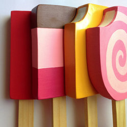 Wooden Play Food, Variety Pack of Popsicles by Bring Your Own Imagination