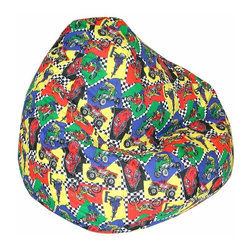Elite Products - Kids Juvenile Print Lightweight Large Bean Ba - On your mark, get set, go!  This racing themed bean bag chair is for kids ages 4 to 10.  Comfortable polystyrene beads are covered in a poly-cotton fabric for the ultimate in wrap-around seating.  Double stitched for durability. * Long lasting and durable. Double stitched with double overlap folded seam. Double zippered bottom for added security. Childproof safety lock zippers (pulls have been removed). Constructed with durable poly-cotton print fabric. Light and convenient to move and store. Can easily be refilled by an adult. Recommended seating age: 4 to 10 years old. Warranty: One year limited. Made from polycotton blend fabric and polystyrene bead. Made in USA. 32 in. L x 30 in. W x 25 in. H (6 lbs.)
