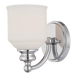 Savoy House - Melrose 1-Light Sconce - The Melrose collection boasts chic modern lines, white globes and a polished chrome finish. Style meets value!