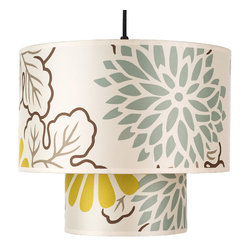 Lights Up! - Deco Medium Pendant Lamp, Kimono - Playful kimono-style graphics and colorful palettes are a fun way to add interesting layers to any room design. Brighten up a kitchen nook — or even a bedroom — with this double-silk drum pendant. It's the perfect addition to any contemporary home.