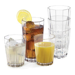 Creative Bath - Creative Bath 19.5 oz. Solutions Stackable Tumblers - Set of 12 - CH708 ASST - Shop for Tumblers from Hayneedle.com! Whether your drink of choice is iced tea lemonade mojitos or mimosas your favorite beverages will be served beautifully with the Creative Bath 19.5 oz. Solutions Stackable Tumblers - Set of 12. Ideal for entertaining indoors or out this casual unbreakable drinkware set includes 12 tumblers - six with a 19.5-oz. capacity and six with a 12-oz. capacity. Made in the USA from strong durable acrylic these clear drinking glasses feature an elegant faceted design for added style. And since they're stackable they take up less space in your kitchen cupboards.About Creative BathFor over 30 years Creative Bath has developed innovative stylish bathroom decor items. They have grown exponentially and now you can find their products in major retail and online stores around the world. From shower curtains to soap dishes and everything in between Creative Bath brings you high quality items to enhance your lifestyle.