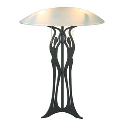 Cricket Forge - Three Graces Table Lamp - The Three Graces motif draws inspiration from the human form, pulling in the interesting shape as well as the vitality of life. Reminiscent of a flickering flame, these figures will bring those same inspirations into the spaces around them. Our table lamps include a frosted glass shade. There are sockets for two lightbulbs which are controlled separately using individual pull chains. Wires are hidden from view through the center of the lamp and the base is airbrushed in black.