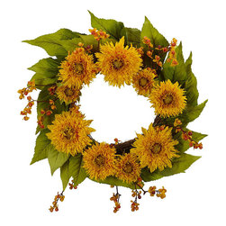 Nearly Natural - Golden Sunflower Wreath - Add a bright accent to your decor with this sunflower wreath. This wreath has a twig-based ring and is completely maintenance free.