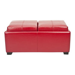 Safavieh - Harrison Double Tray Ottoman - Red - Get ready to get organized with the Harrison Double Tray Ottoman. This ramped up modern storage piece has two tailored cushions that reverse to reveal a pair serving trays. Crafted with chic red bicast leather and birch wood in black finish, it will get the party started.
