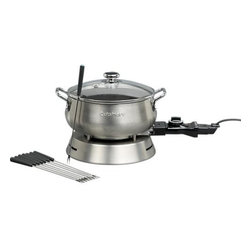 Cuisinart® Electric Fondue Set - Plug into flame-less fondue with this handy new version from Cuisinart. They've thought of everything, from the built-in heating element, to the adjustable thermostat, to the easy-clean nonstick finish. You can prepare chocolate, cheese, broth or oil fondues in the sleek brushed stainless pot.