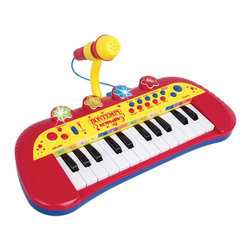 The Original Toy Company - The Original Toy Company Kids Children Play Electronic Keyboard with Microphone - 24 keys. you can alternatively utilize the 4 pads either to play drums or to reproduce the animals voice. Adjustable microphone. 6 demo songs. Adjustable tempo. 4 different rhythms- Blues, Rock, Samba, Waltz. 3 AA bateries required (not included).