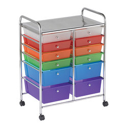 "Ecr4kids - Ecr4Kids Multi-Purpose 12 Deep Drawers Mobile Storage Organizer Assorted Colors - Multi-purpose organizer with 4 casters for mobility (2 locking) and colored translucent drawers. Tubular, chrome-plated steel frame and top shelf. Round, chrome plated knob-style drawer pulls. Cart capacity is 50 lbs (23kg). Style Notes:  Choose: Assorted (AS), Smoke (SM) or White (WH). Colors may vary and are subject to change without notice. Age Level: Adult. Assembled Weight: 17.00 lbs. Assembled Dimensions:  24.75""x 15.40""x 31.75""."