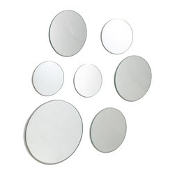 AZ Trading - Set of 7 Round Wall Mirrors - Multiple Sizes Multicolor - FN50032-9INT - Shop for Mirrors from Hayneedle.com! Fun and versatile the Set of 7 Round Wall Mirrors - Multiple Sizes makes decorating easy. This set includes seven circular mirrors that appear to float off the wall. Set includes one 9-inch three 6-inch and three 3-inch diam. mirrors.