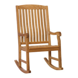 Holly & Martin - Lambert Porch Rocker, Natural - Bring home this beautiful wooden rocker! It will be the perfect addition to your patio, sunroom or deck. Featuring a contoured seat for added comfort and wooden slats for quick drying after a refreshing rainfall. You will want to spend hours reading in this comfortable hardwood rocker!
