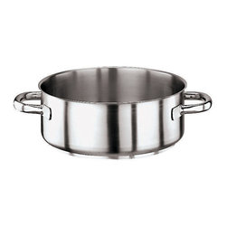 Paderno World Cuisine - Stainless Steel 2 5/8 Quart Rondeau Pot, No Lid - The 2 5/8 quarts stainless steel rondeau without a lid is wide and low, allowing for the quick dispersion of steam for searing and poaching. The pan has two welded stainless steel handles. It is induction compatible.
