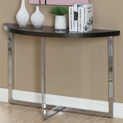 Monarch - Cappuccino/Chrome Metal Sofa Console Table - Bring a modern and sleek design to your home with this fabulous chrome based and thick cappuccino veneer top console table. The curved half moon shaped table top adds a degree of sophistication and can fit in any spot in your room.