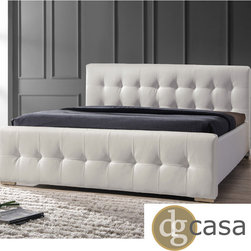 DG Casa - DG Casa Sierra White King Size Bed - This stylish,king-size bed has plenty of space for two and will be a chic addition to your bedroom. The white synthetic leather has a tufted headboard and footboard and is easy to clean. Plus you can save money because you wont need a box spring.