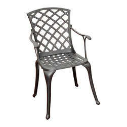 Crosley Furniture - Crosley Furniture Sedona Cast Aluminum High Back Arm Chair in Charcoal Black (Se - It may be hot outside, but you'll feel cool kicking back in our heavy duty, solid-cast aluminum furniture. Designed for style and built to last, this armchair features a durable charcoal black powder coated finish that will weather the harshest of outdoor conditions. Experience pure nirvana while unwinding in the chair's comfortable contoured seats. Your very own outdoor oasis awaits you!