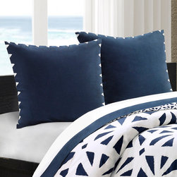 Echo - Echo African Sun European Sham - This African Sun euro sham in a solid dark blue color is beautifully embroidered to add dimension. Made from 100% cotton faux linen, this euro sham gives a bold backdrop this bed set. 100% cotton faux linen with embr