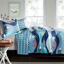 Lush Decor - Sea Life Blue Two-Piece Twin Quilt Set - - Let the kid in you come out and dive into the magic world of sea life surrounded with fish, reefs, and colorful ocean floor. Face of the comforter adds fun to the d�cor with its print details while reverse of the comforter adds serenity with wave pattern in the shades of blue and white. Made from 100% cotton, this set is soft to the hand and has wonderful quilting details  - Set Includes: 1 quilt, 1 sham  - Care Instructions: Machine wash cold, gentle cycle, only non chlorine bleach when needed, tumble dry low, steam if needed, do not iron   - Fill Content: 100% polyester Lush Decor - C21880P14-000