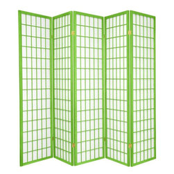 Oriental Furniture - 6 ft. Tall Window Pane - Special Edition, Lime, 5 Panel - The popular Window Pane Shoji Screen is now available in a special edition run of beautiful new colors! The fiber-reinforced Shoji rice paper offers privacy while allowing diffused light to filter through, and the Scandinavian spruce frame is both durable and lightweight. This special edition won't last forever, so pick your favorite color today while supplies last!