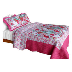 Blancho Bedding - [Rose Garden] Cotton 3PC Vermicelli-Quilted Patchwork Quilt Set (Full/Queen) - Set includes a quilt and two quilted shams. Shell and fill are cotton. For convenience, all bedding components are machine washable on cold in the gentle cycle and can be dried on low heat and will last you years. Intricate vermicelli quilting provides a rich surface texture. This vermicelli-quilted quilt set will refresh your bedroom decor instantly, create a cozy and inviting atmosphere and is sure to transform the look of your bedroom or guest room. Dimensions: Full/Queen quilt: 90 inches x 98 inches. Standard sham: 20 inches x 26 inches.