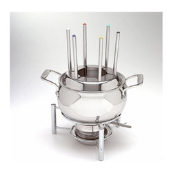 All-Clad - All-Clad Fondue Pot w/Ceramic Insert - An iconic addition to any home entertainer's collecion, the Fondue Pot has a ceramic insert that can be placed inside the stainless base for a variety of cheese and chocolate fondues. Use the stainless steel base alone for oil or broth fondues. Slots secure the 6 multi-colored forks in an upright position and spaces food within the pot for even cooking. A sturdy, four-legged stainless steel stand holds a sterno to keep foods at optimum temperature.