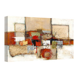 None - 'Paint the Town Red' Canvas Art - This intriguing abstract canvas art will be the focal point in any space. Featuring varying rectangles and squares,it combines neutral colors and vibrant red and green to add personality to your contemporary d�cor.