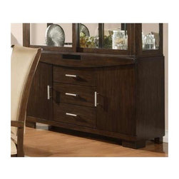 Alpine Furniture - Beverly Buffet - Three drawers. Two doors. Six months warranty. Made from rubber wood solids and primavera veneer. Dark amber finish. Made in Vietnam. No assembly required. 23.5 in. W x 19.5 in. D x 41 in. H
