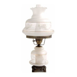Summit Lamp Company - 27-Inch Victorias Window Table Lamp - Etched Gold and White Spray Glass Shade  - Candelabra bulb is located in the lamp base for use as a nightlight.  - Candelabra bulb included. Summit Lamp Company - 5124-VW