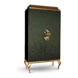 KOKET Divine - This utterly desirable double door pagoda top armoire is covered in delicate iridescent peacock feathers each individually placed. An exquisite metal ribbon opens the doors to a lavish interior graced with four antique mirror drawers & two adjustable glass shelves. Body finished in high gloss black lacquer with base and top covered in gold leaf.