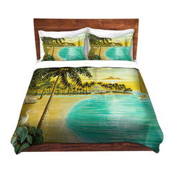 DiaNoche Designs - Duvet Cover Twill - Tropic Cove - Lightweight and super soft brushed twill Duvet Cover sizes Twin, Queen, King.  This duvet is designed to wash upon arrival for maximum softness.   Each duvet starts by looming the fabric and cutting to the size ordered.  The Image is printed and your Duvet Cover is meticulously sewn together with ties in each corner and a concealed zip closure.  All in the USA!!  Poly top with a Cotton Poly underside.  Dye Sublimation printing permanently adheres the ink to the material for long life and durability. Printed top, cream colored bottom, Machine Washable, Product may vary slightly from image.