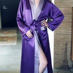 Kumi Long Robe - Indulgence beckons by day and gives a nod to night with the Kumi Long Robe. Exquisite reversible silk creates a flowing and generously proportioned silhouette. Classic styling reminiscent of classic Hollywood glamour is presented in the contrasting collar and patch pockets. Practical for everyday elegance yet sophisticated enough for evening allure.