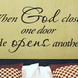 Decals for the Wall - Wall Decal Sticker Quote Vinyl Art Graphic Letter God Opens Doors Religious R53 - This decal says ''When God closes one door He opens another''