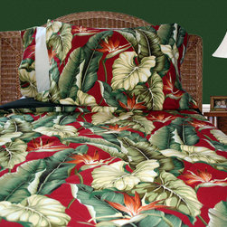 Birds of Paradise Bedding - Red Birds of Paradise comforter and sham. We painted the wall in the back green to match the bedding, and used a chair rail to break up the bold wall color, and added some melon tropical fabric as a mock wall paper. Some rattan furniture and the room is a tropical getaway!