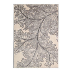 "Nourison - Nourison Utopia UTP04 2'6"" x 4'2"" Ivory Area Rug 04809 - Beauty is in the details, as this lovely leaf in dramatic close-up clearly shows. Bold yet not overpowering, its lyrical arabesques create a harmonious balance of shadow and light. The effect is easy on the eye and works equally well with modern or traditional home design."
