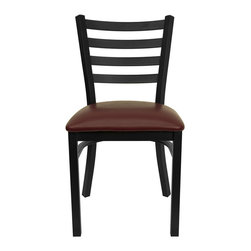 """Flash Furniture - HERCULES Series Black Ladder Back Metal Restaurant Chair - Burgundy Vinyl Seat - Provide your customers with the ultimate dining experience by offering great food, service and attractive furnishings. This heavy duty commercial metal chair is ideal for Restaurants, Hotels, Bars, Lounges, and in the Home. Whether you are setting up a new facility or in need of a upgrade this attractive chair will complement any environment. This metal chair is lightweight and will make it easy to move around. For added comfort this chair is comfortably padded in vinyl upholstery. This easy to clean chair will complement any environment to fill the void in your decor.; Heavy Duty Metal Restaurant Chair; Ladder Style Back; Burgundy Vinyl Upholstered Seat; 2.5"""" Thick 1.4 Density Foam Padded Seat; 18 Gauge Steel Frame; Welded Joint Assembly; Curved Support Bar; Black Powder Coated Frame Finish; Plastic Floor Glides; Designed for Commercial Use; Suitable for Home Use; Assembly Required: Yes; Country of Origin: China; Warranty: 2 Years; Weight: 24 lbs.; Dimensions: 32.25""""H x 16.5""""W x 17""""D"""