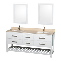 "Wyndham Collection - 72"" Natalie White Double Bathroom Vanity w/ Ivory Marble Top & Square Sink - Classic yet elegantly modern, the Natalie bathroom vanity is a bold statement and a meaningful centerpiece for any bathroom. Inspired by the contemporary American design ethic and crafted without compromise, these vanities are designed to complement any decor, from traditional to minimalist modern."