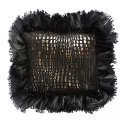 "Brandi Renee Designs - Mozambique Collection Animal Print Design with Black Ruffle Trim Pillow 10"" Squa - Our charcoal animal print pillow design has vibrant hues of dark black, bronze and a soft touch of gold and it's amazingly soft and comfortable feel never fails to draw to your attention. This croc pillow shouts luxurious and the beautiful embellished black silk ruffle adds an extra touch of elegance."