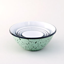 Barn Light Electric Co. - American Made Set of 5 Enamel Graniteware Nesting Bowls - Handcrafted from commercial grade steel, these Graniteware Bowls are heavy-duty, American-made originals, not to be mistaken for lightweight, imported adaptations. Dishwasher safe and free from lead and cadmium, these bowls will add vintage flavor to your kitchen and become your tool of choice when cooking. Choose from four different finish colors!