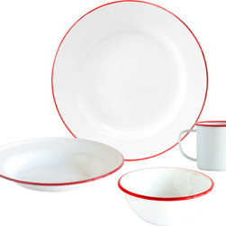 Crow Canyon Home - Dinnerware Set, 16-Piece, White and Red Rim - Four table settings of our most popular enamelware items: dinner plate, salad plate, bowl, and mug.